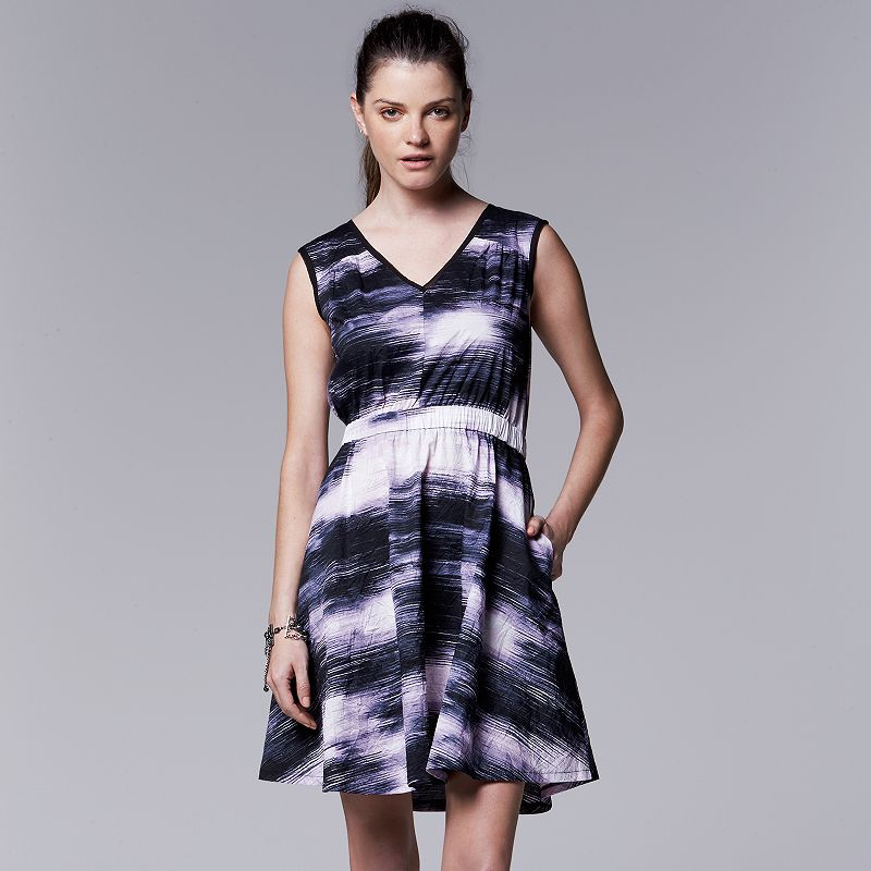 Simply Vera Vera Wang Print Crinkle Fit & Flare Dress