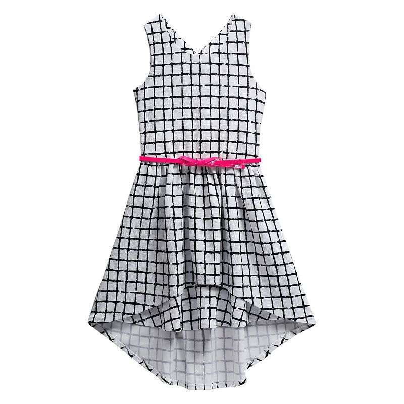 Girls 7-16 Emily West High-Low Grid Dress