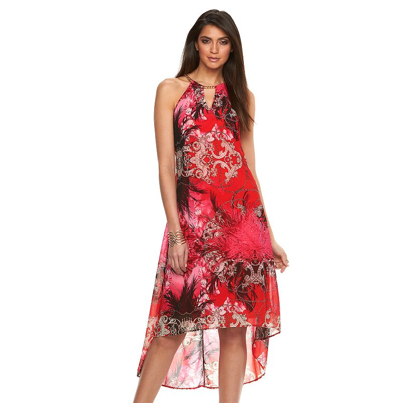 Women's Jennifer Lopez Print High-Low Halter Dress