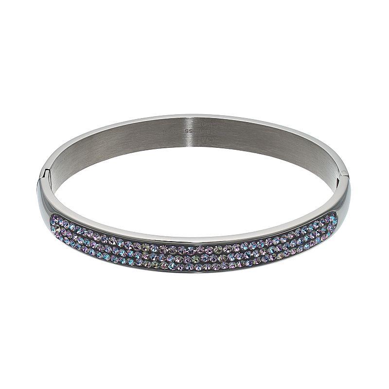 Crystal RadianceStainless Steel Hinged Bangle Bracelet