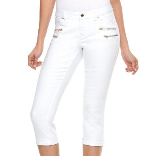 Women's Jennifer Lopez Modern Fit White Skinny Capri Jeans
