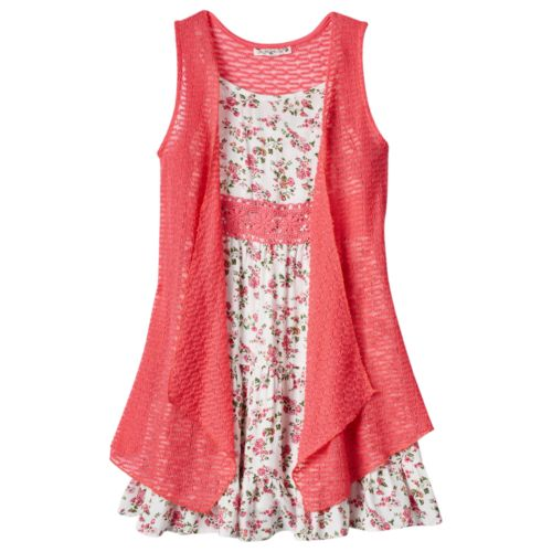 Girls 7-16 Knitworks Crochet Dress & Vest Set