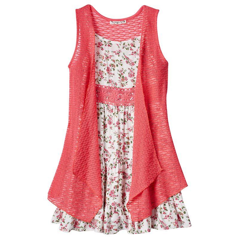 Girls 7-16 Knitworks Crochet Dress & Vest Set