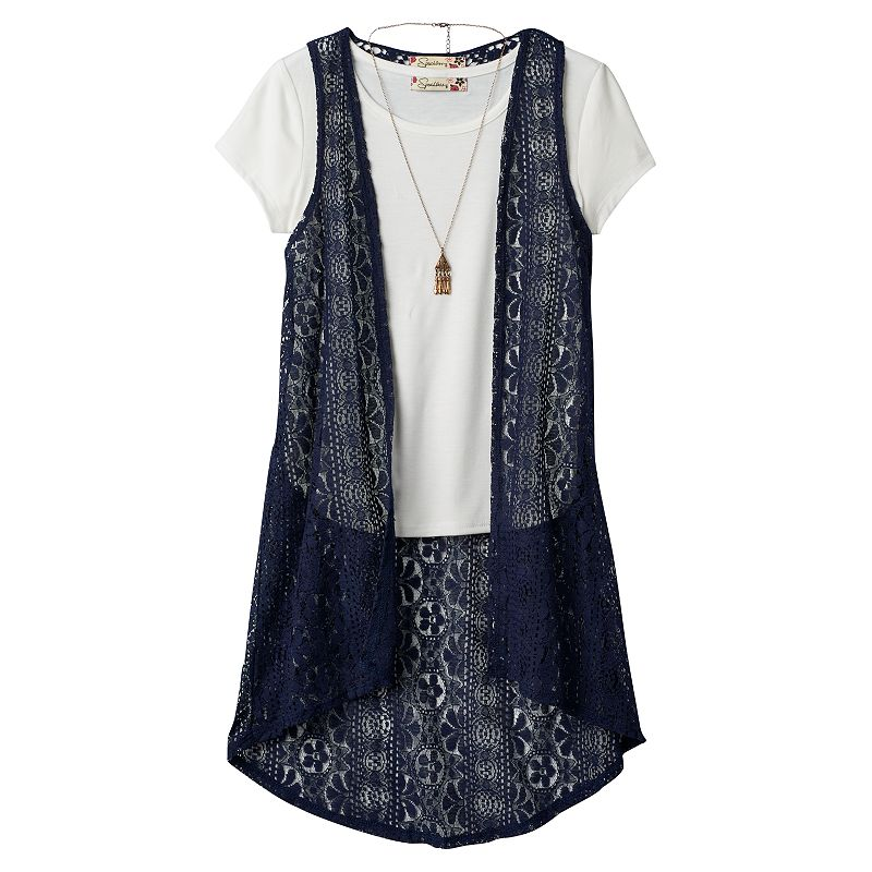 Girls 7-16 Speechless Ruched Tee, Racerback Vest & Necklace Set