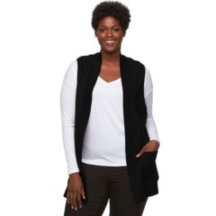Plus Size Croft & Barrow® Cozy Open-Front Sweater Vest