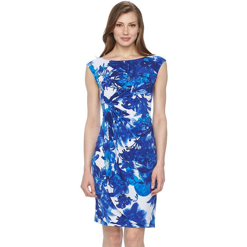 Women's Connected Apparel Floral Faux-Wrap Dress