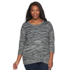 Plus Size Croft & Barrow® Asymmetrical Hem Sweater