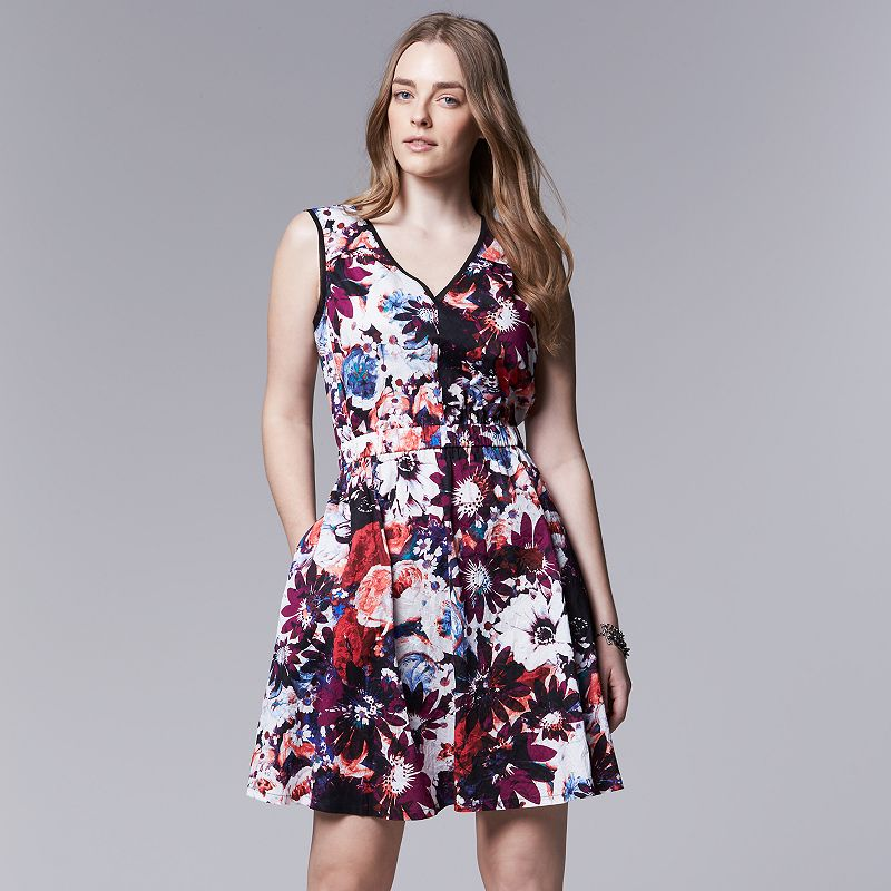 Plus Size Simply Vera Vera Wang Floral Crinkle Fit & Flare Dress