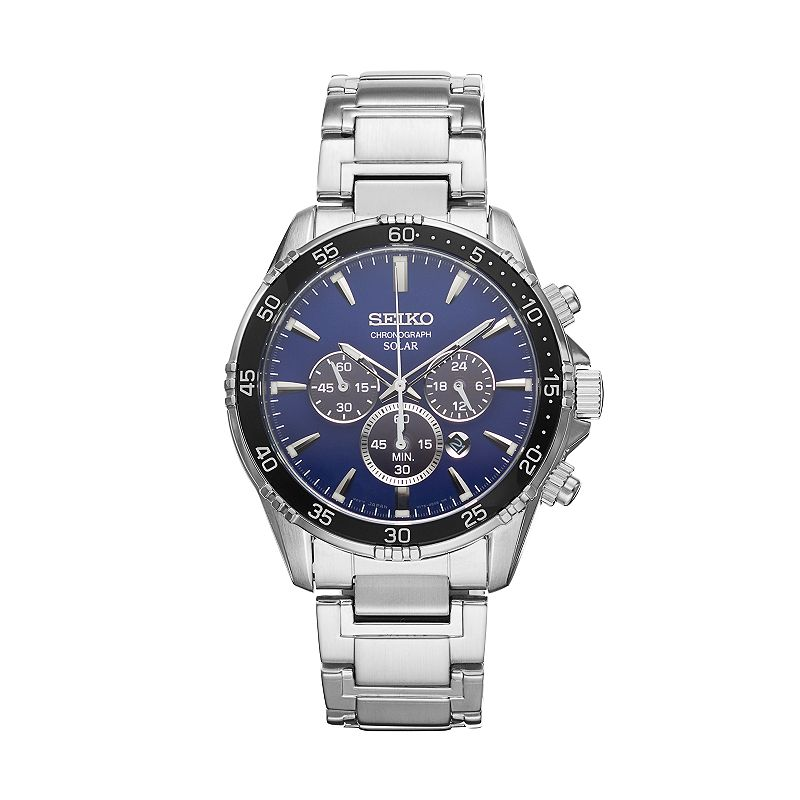 Seiko Men's Core Stainless Steel Solar Chronograph Watch - SSC445