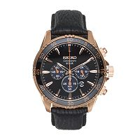 Seiko Men's Core Leather Solar Chronograph Watch - SSC448