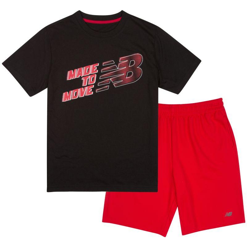 Boys 4-7 New Balance Slogan Sports Tee & Shorts Set, Boy's, Size: 5, Black