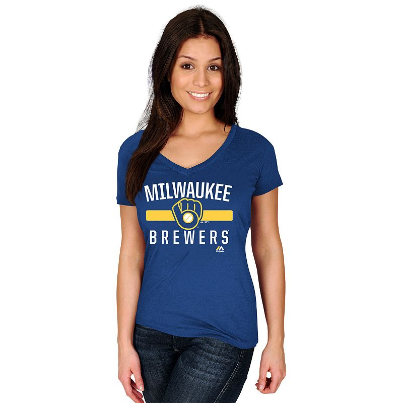 Women's Majestic Milwaukee Brewers One Game at a Time Tee