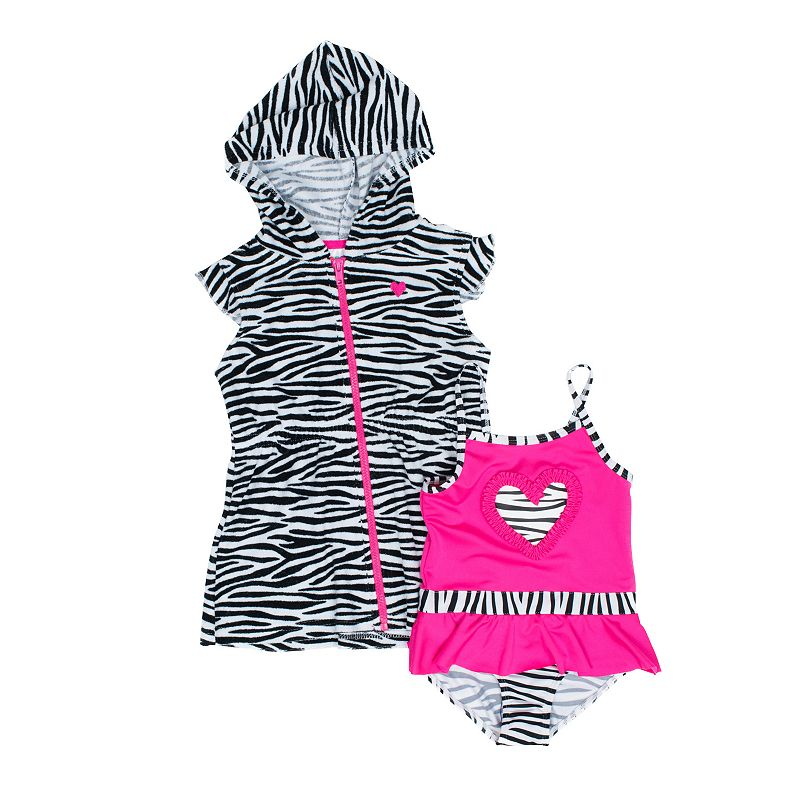 Baby Girl Wippette Heart Swimsuit & Zebra Cover-Up