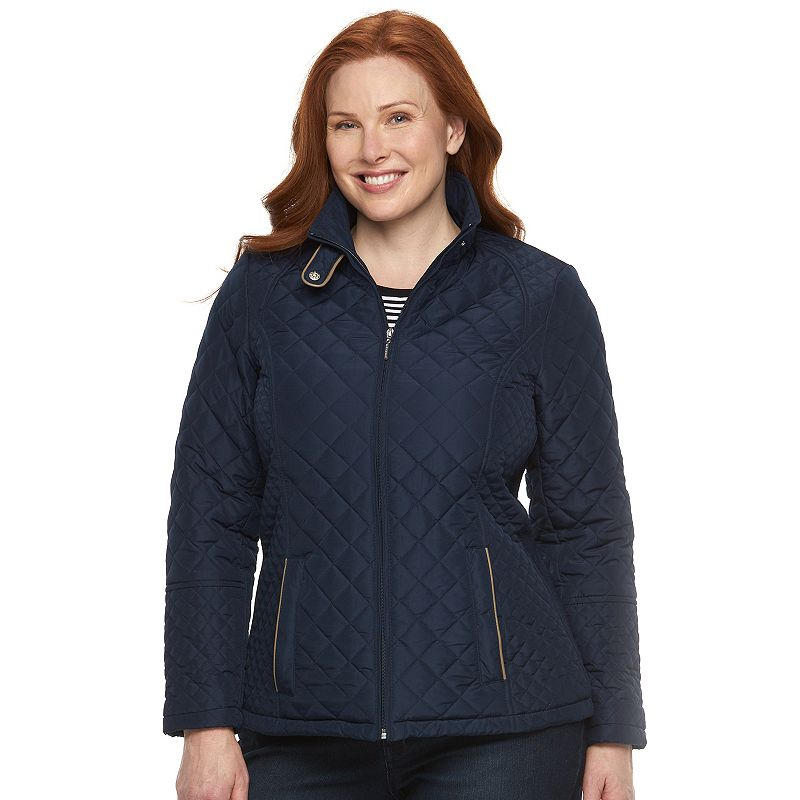 Plus Size Weathercast Ribbed-Side Quilted Jacket