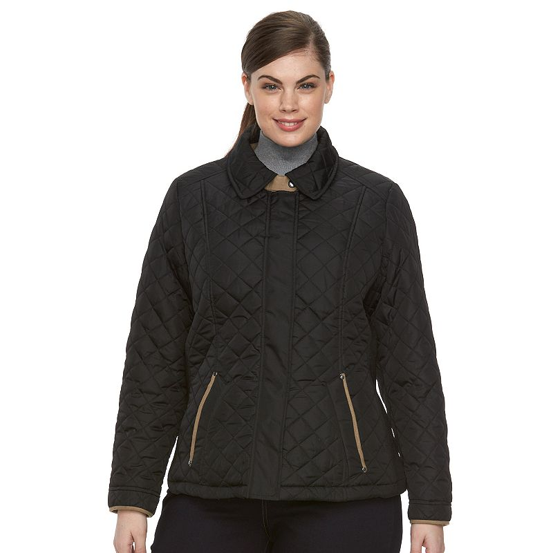Plus Size Weathercast Side Stretch Quilted Jacket