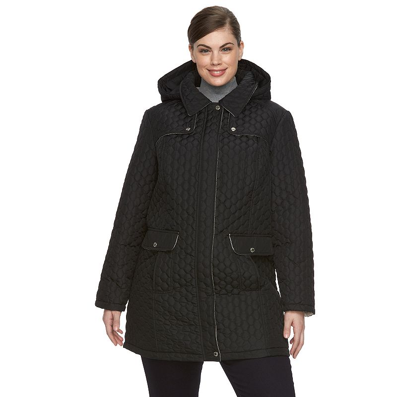 Plus Size Weathercast Quilted Hooded Walker Jacket