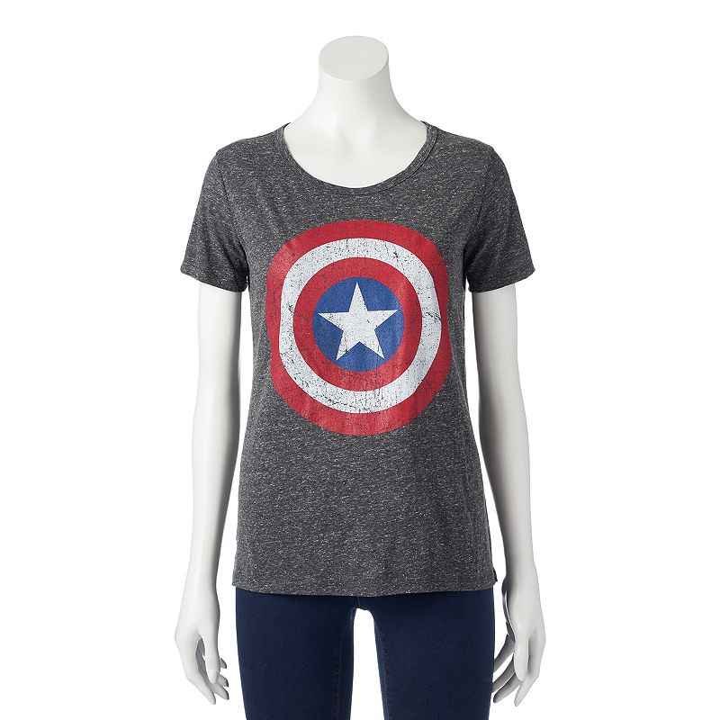Juniors' Marvel Captain America Shield T-Shirt