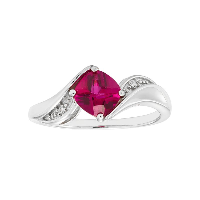 Sterling Silver Lab-Created Ruby & Diamond Accent Bypass Ring