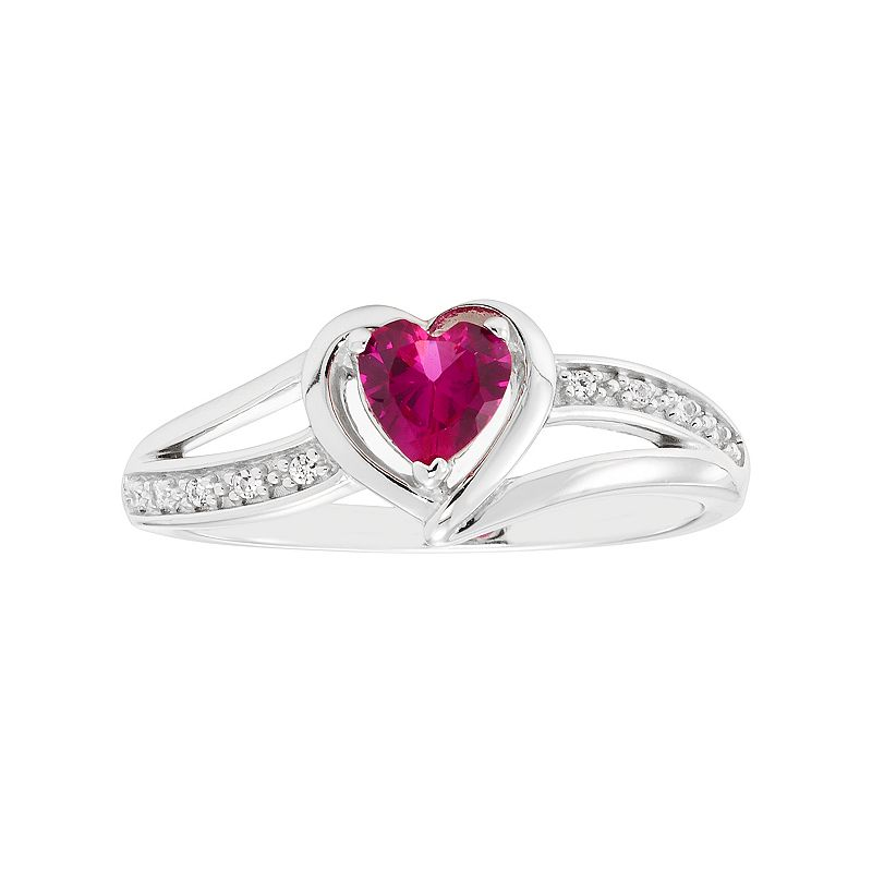 Sterling Silver Lab-Created Ruby & Diamond Accent Heart Halo Ring