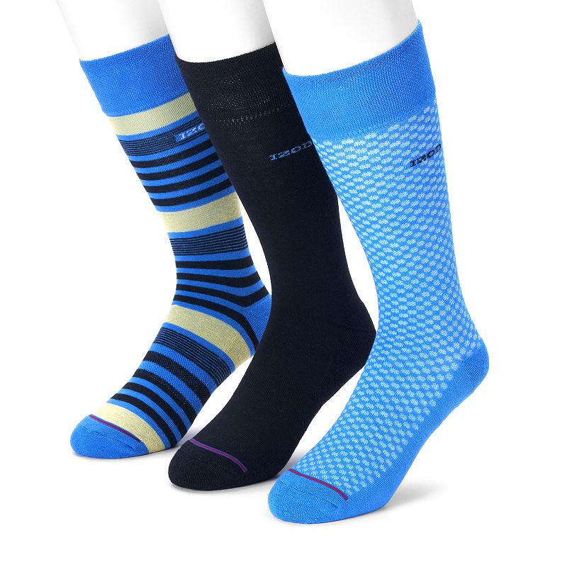 Men's IZOD 3-pack Patterned & Solid Crew Socks