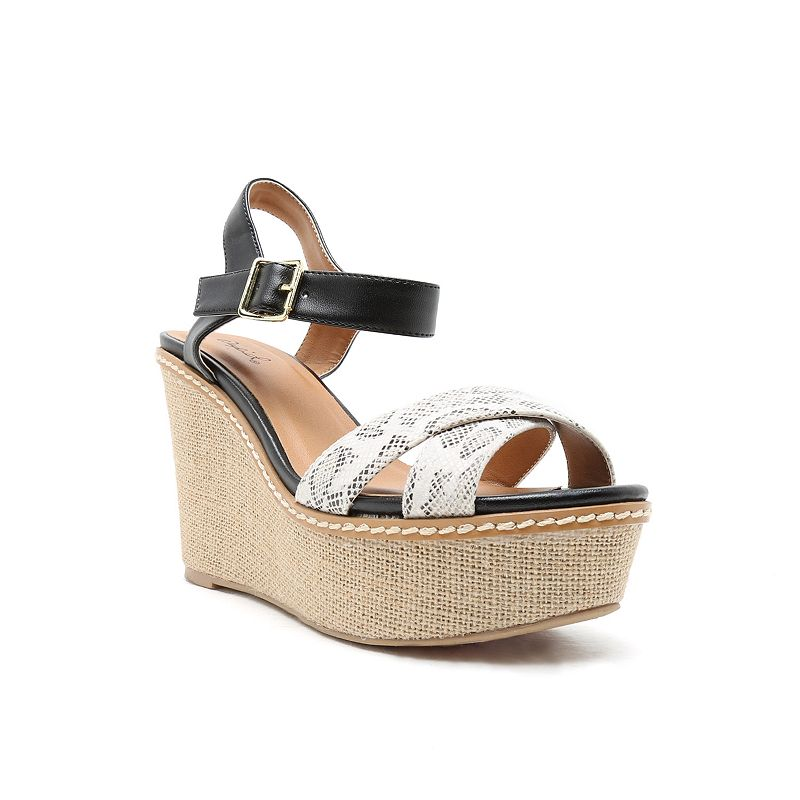 Qupid Ador Women's Slingback Wedge Sandals