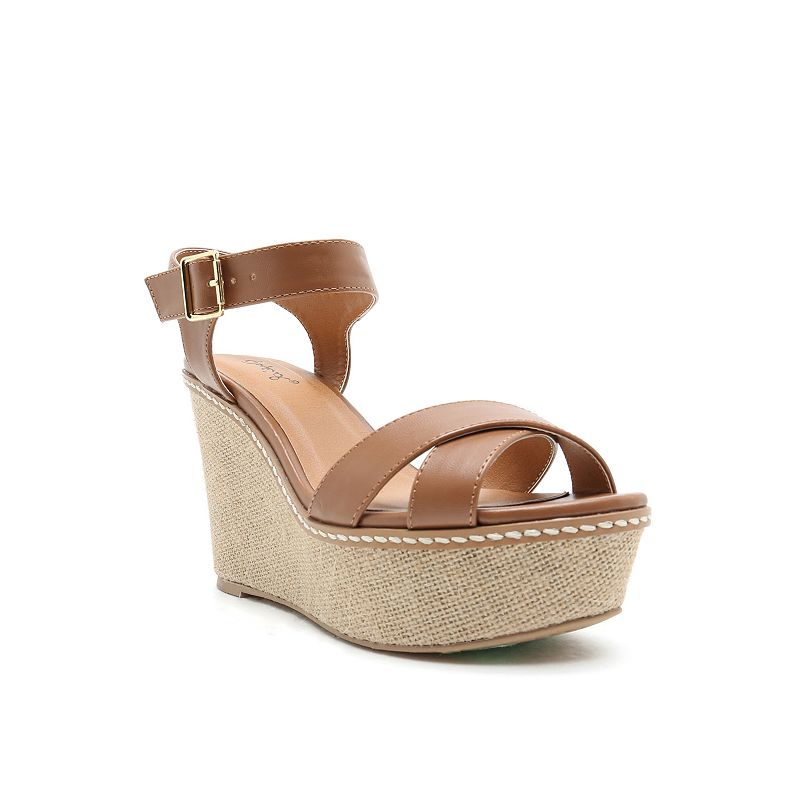 Qupid Ador Women's Slingback Wedge Sandals