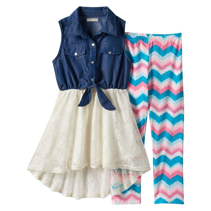 Girls 7-16 One Step Up High-Low Dress & Chevron Leggings
