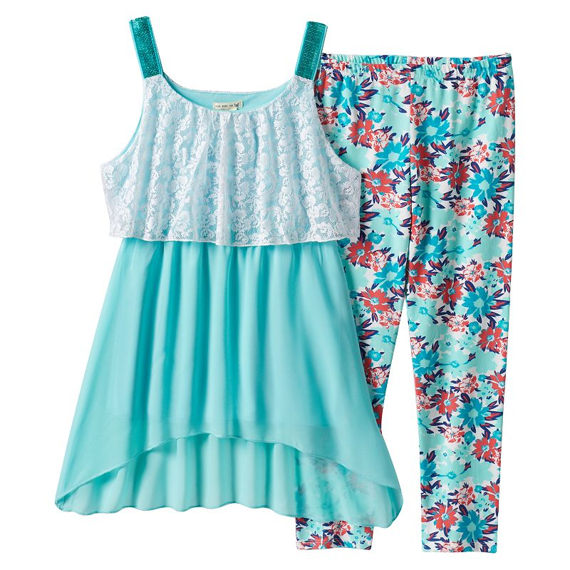 Girls 7-16 One Step Up Lace Popover Tunic Tank & Floral Leggings