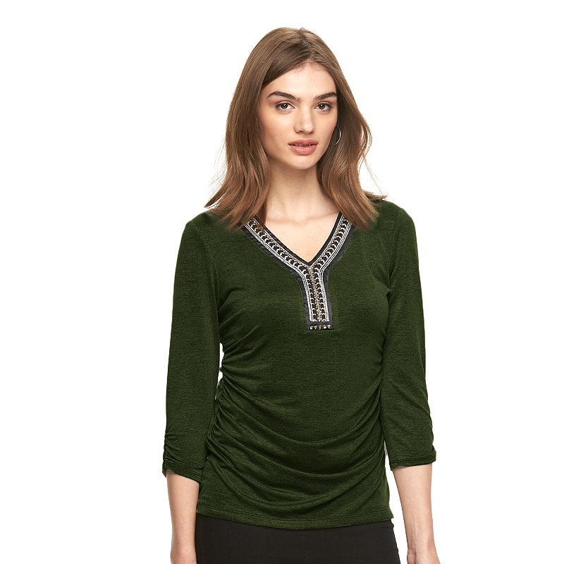 Women's AB Studio Embellished Ruched Top