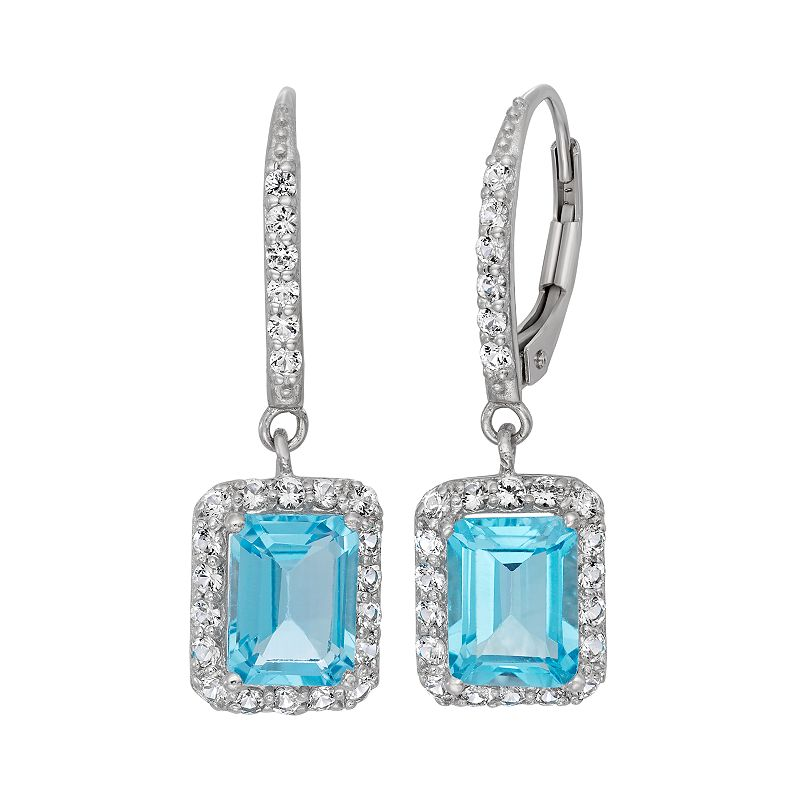 David Tutera Sterling Silver Blue Topaz & Lab-Created White Sapphire Rectangle Drop Earrings