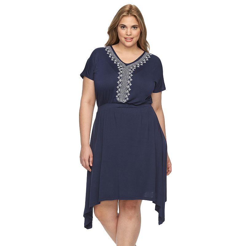 Plus Size Design 365 Embroidered Sharkbite Hem Dress
