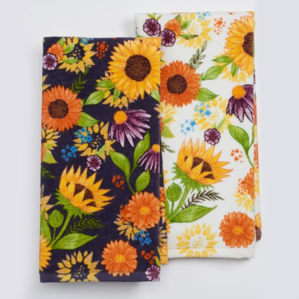 Celebrate Fall Together Floral Kitchen Towel 2-pk.