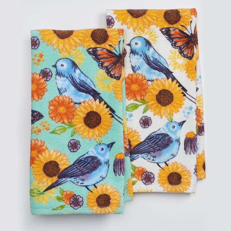 Celebrate Fall Together Floral Bird Kitchen Towel 2-pk.