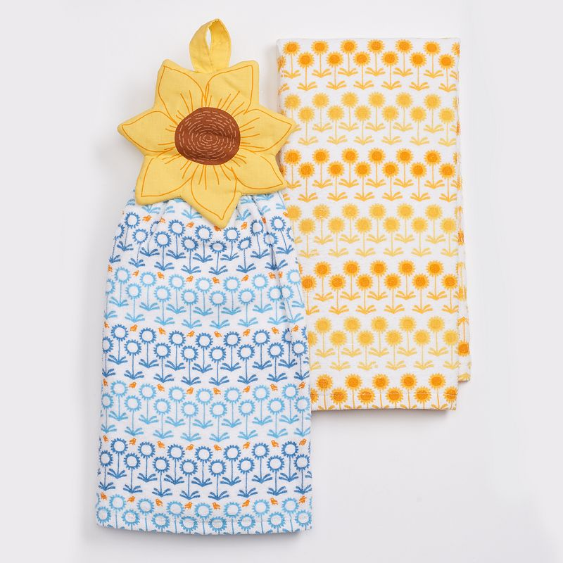 Celebrate Fall Together Sunflower Button Kitchen Towel 2-pk.