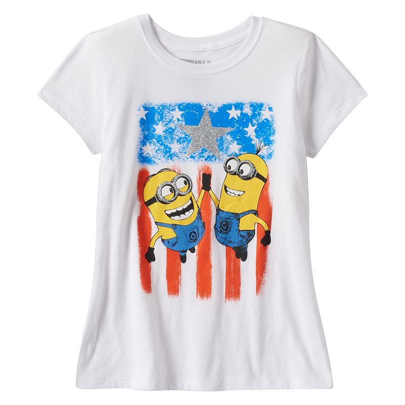 Girls 7-16 Despicable Me Minions Stars & Stripes Tee