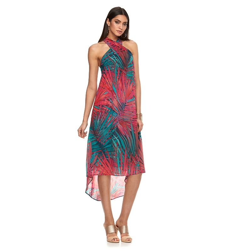 Petite Jennifer Lopez Palm Leaf Mesh High-Low Dress