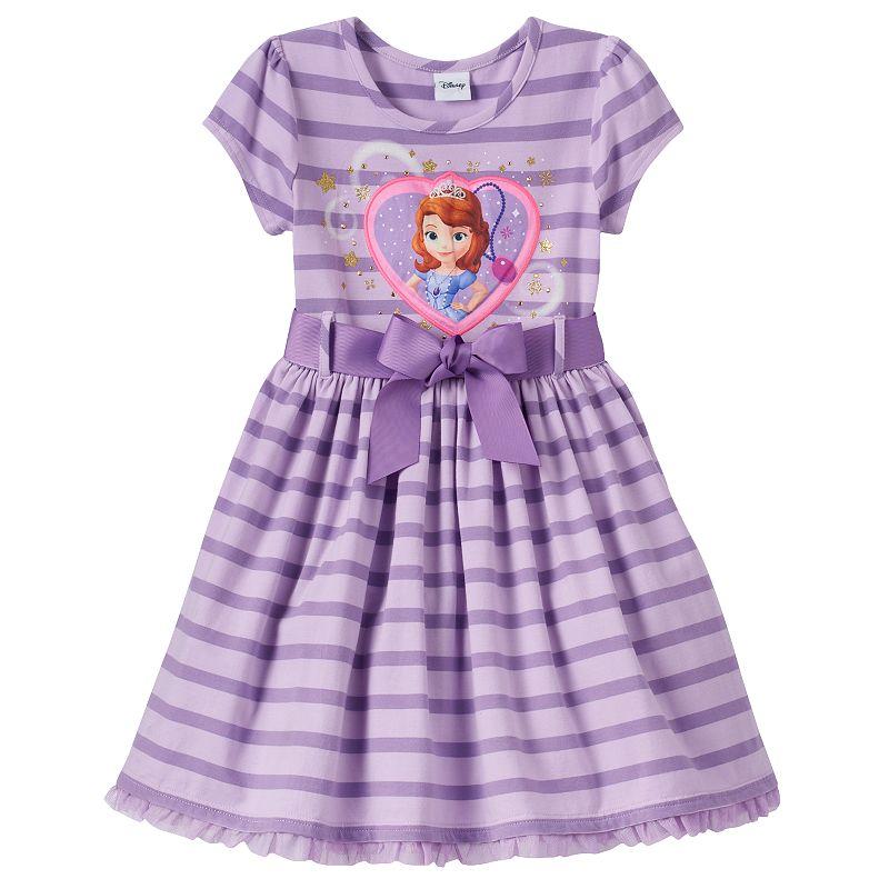 Disney's Sofia the First Girls 4-6x Striped Ruffle Tulle Dress