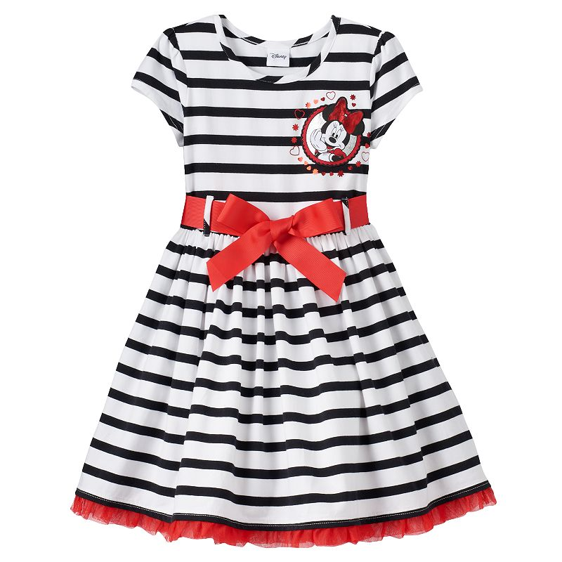Disney's Minnie Mouse Girls 4-6x Striped Ruffle Tulle Dress