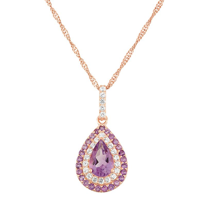 David Tutera 14k Rose Gold Over Silver Amethyst Teardrop Pendant