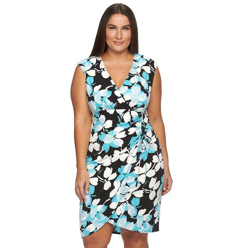 Plus Size Suite 7 Printed Faux-Wrap Dress