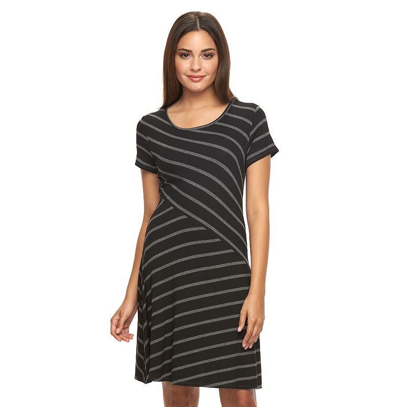 Women's AB Studio Spliced-Stripe Shift Dress