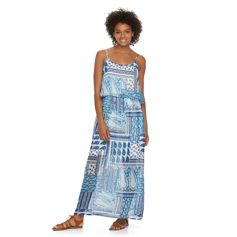 Juniors' Liberty Love Mock-Layer Maxi Dress