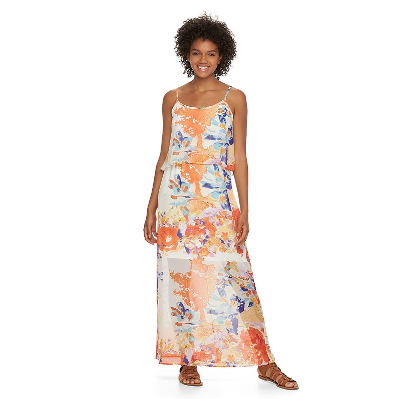 Juniors' Liberty Love Mock-Layer Maxi Dress