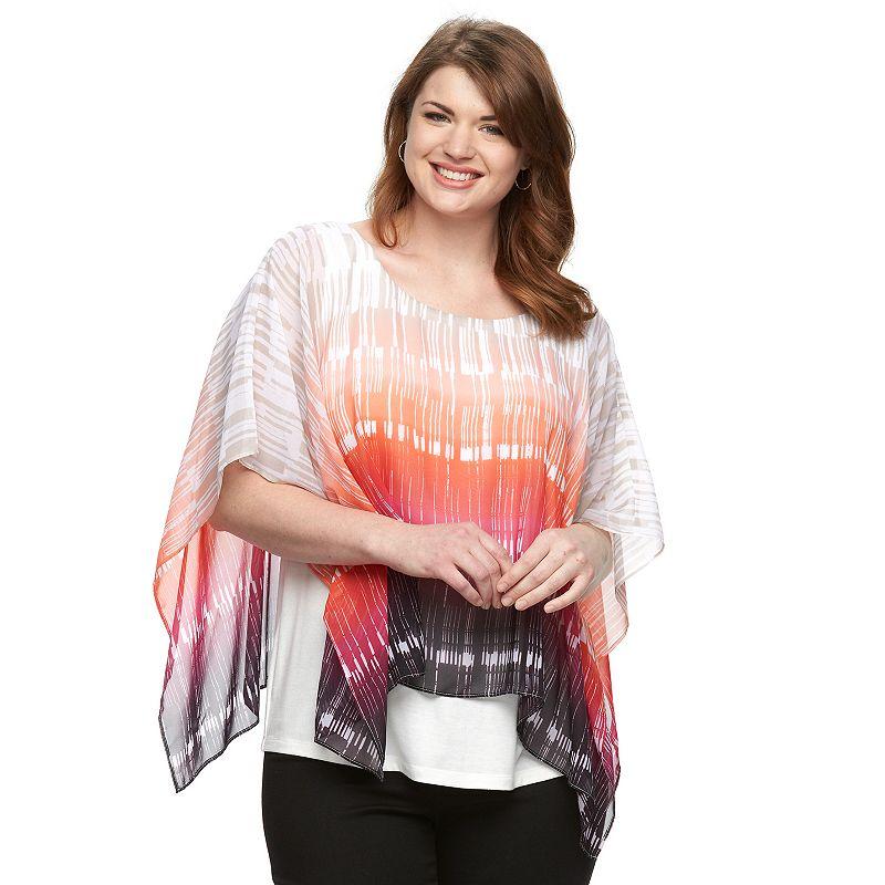 Plus Size AB Studio Ikat-Striped Chiffon Poncho Top