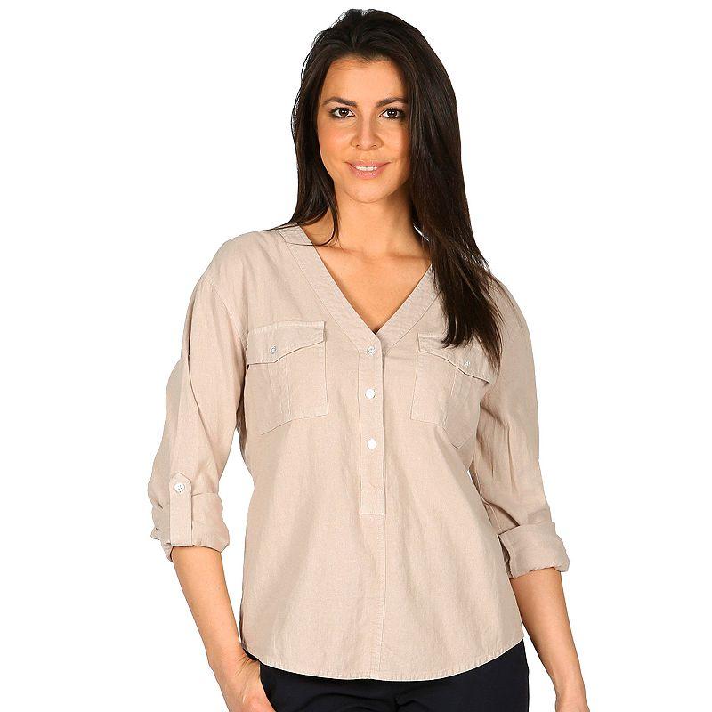 Women's Harve Benard Linen-Blend Utility Shirt