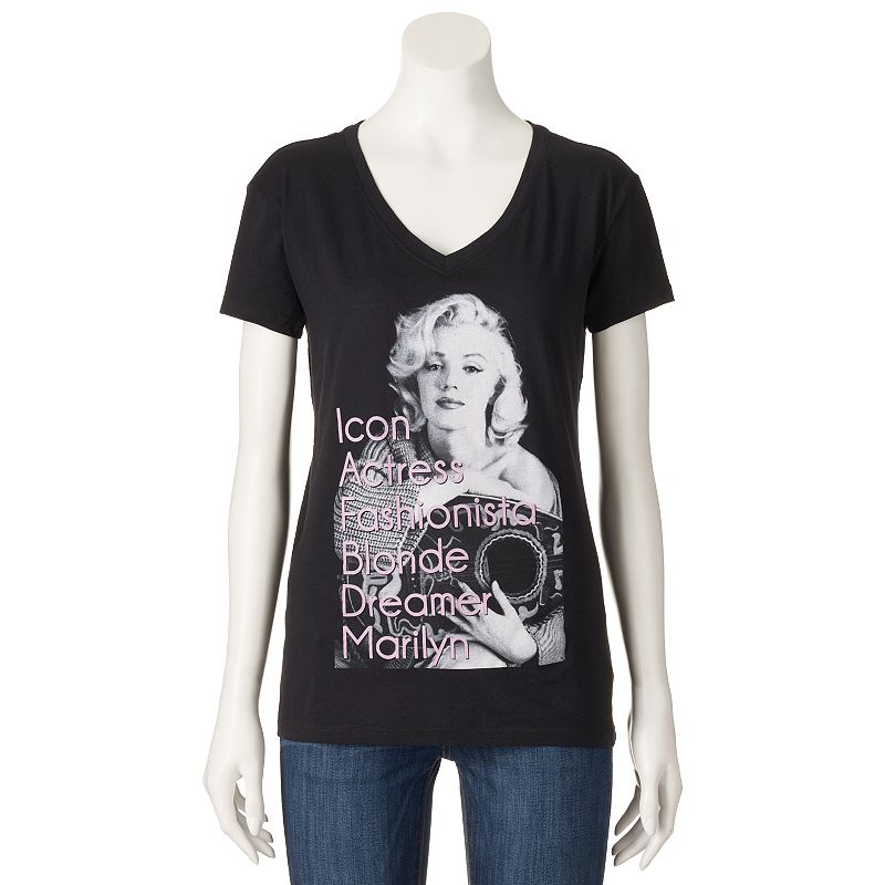 Juniors' Marilyn Monroe V-Neck T-Shirt