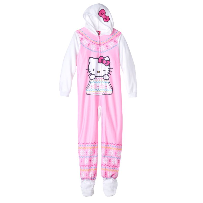 Girls 4-16 Hello Kitty Fairisle One-Piece Pajamas, Girl's, Size: Medium, White