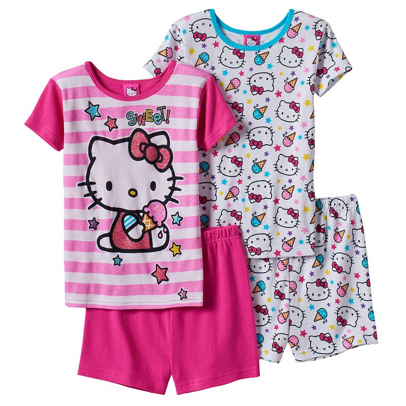 Girls 4-10 Hello Kitty Ice Cream Pajama Set, Girl's, Size: 4, Pink