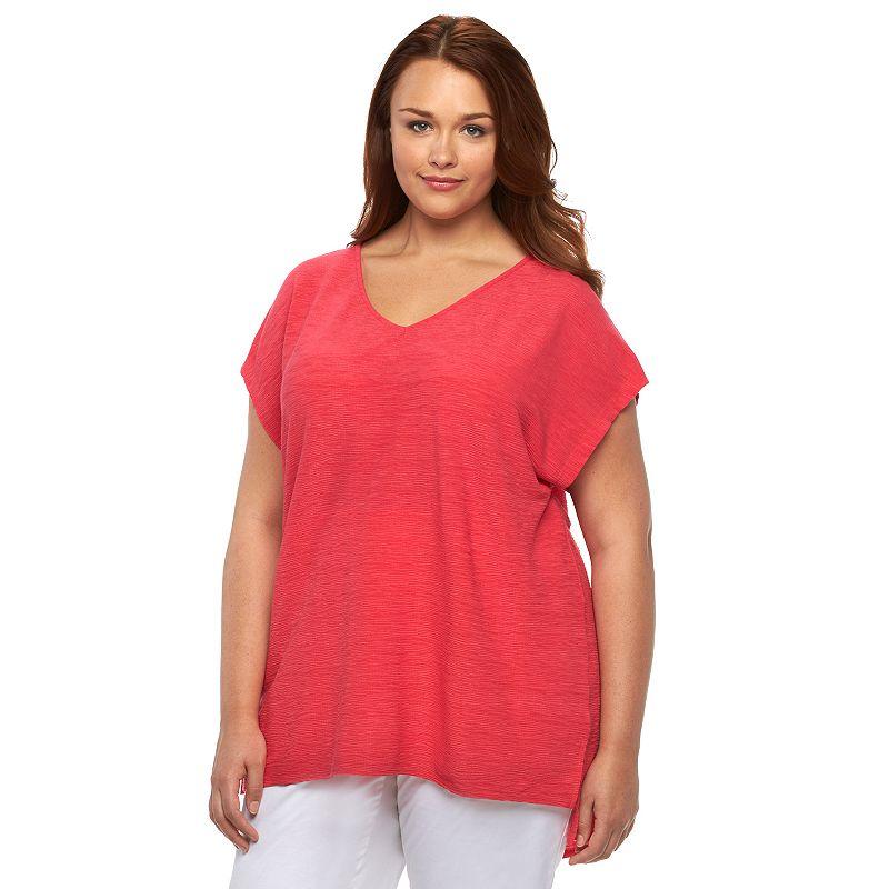 Plus Size Dana Buchman Textured V-Neck Tunic