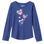 Girls 4-8 Jumping Beans® Long Sleeve Slubbed Shirttail Graphic Tee